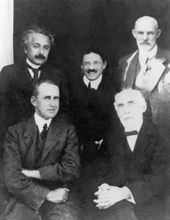 Early 20th century physicists. American Institute of Physics/Sciencephoto Library. Clockwise from upper left: the German-Swiss-US physicist Albert Einstein (1879- 1955), Austrian Paul Ehrenfest (1880-1933), Dutch cosmologist Willem de Sitter (1872-1934),