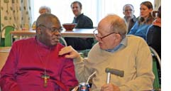 Anglican archbishop of York John Sentamu meets patients at Quaker mental health centre The Retreat on 6 March. Photo courtesy The Retreat.